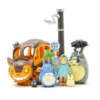 8Pcs My Neighbor Totoro Toys PVC Mei Cat Bus Figure Miyazaki Hayao Film Scene