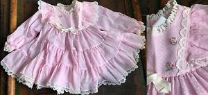 VTG BRYAN USA-MADE PINK POLKA DOT WHITE LACE COTTON CHILD'S FANCY DRESS 12M EUC