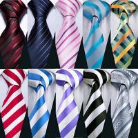 Striped Tie Set Blue Red Black Gold White Silk Necktie Handkerchief Cufflink USA