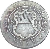 1826 Switzerland - Canton Solothurn 5 Rappen, Billon, KM-78.