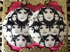 Betsey Johnson Vintage Mod Black & White Girl Face Print Shell Earrings RARE