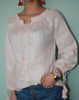 Traditional Geometric Embroidery Blouse Romanian Peasant Boho Hippie Ivory Top