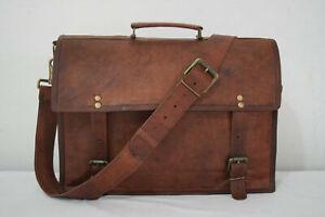 """Leather Satchel Messenger 15"""" Laptop Briefcase Office College Shoulder Bag"""