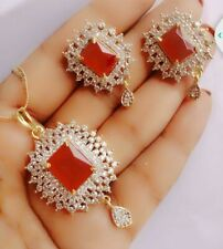 Indian Necklace Earrings American Diamond Ruby Stone Gold Silver Tone Pendant