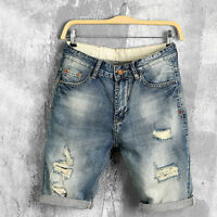 Fashion Mens Denim Shorts Distressed Ripped Knee Length Jeans Shorts Pant