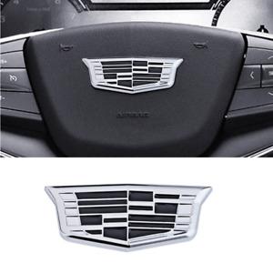 Silver Black 3.15''x1.26'' Cadillac Car Steering Wheel Emblem Badge for XT5 XT4