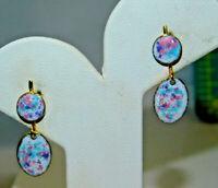Vintage Pink Blue Pastel Enamel Dangle Clip on Gold tone Earrings 3h 57