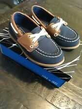 fafdc8cd679 Max   Jake Navy Tan Leather Look Loafer Boat Shoe Slip On SZ 8