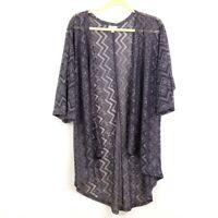 Lularoe Womens sz S Lindsay Gray Chevron Lace Open Front Cardigan Short Sleeve