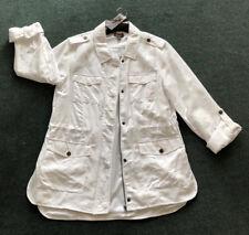 Katies Size 12. Stylish Optic White Zip 4 Pocket Neon City Slub Anorak Jacket
