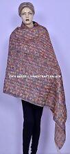 Vintage Silk Kantha Patchwork Shawl Neck Wrap Hijab Indian Stole Reversible