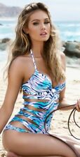 NWT $125 A.Che Tiger Lilly Cutout Sides One Piece Swimsuit Blue Turquoise Sz 4
