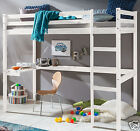 Kinderbett Hochbett mit Tisch Leiter Hochbett Spielbett Kiefer Massiv Weiss Bett günstig