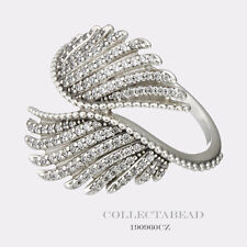 Authentic Pandora Silver Majestic Feathers Clear CZ Ring Size 58 (8) 190960CZ