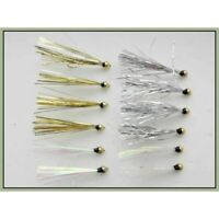 Gold Head Trout Flies, 12 x Gold Silver &Pearl Sparklers, Size 10, Fishing Flies