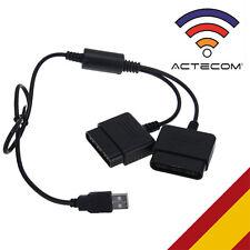 ACTECOM® Adaptador Conversor DOBLE Mandos PS1 PS2 a PC PS3 USB Videojuegos Negro