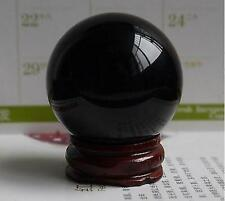 40mm Asian Natural Black Obsidian Sphere Large Crystal Ball Healing Stone+Stand