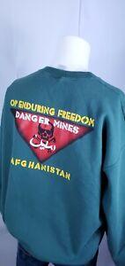 Men's Danger Mines Afghanistan Military Sweatshirt Sz XL