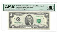1976 $2 MINNEAPOLIS FRN, PMG GEM UNCIRCULATED 66 EPQ BANKNOTE, SCARCE I/C BLOCK