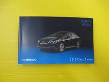 Civic Sedan 4 Door 13 2013 Honda Owner's Owners Manual OEM