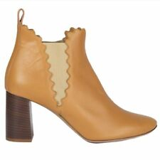 54174 auth CHLOE beige leather LAUREN Ankle Boots Shoes 40