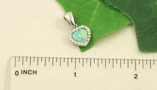 SP0995-G Solid 925 Sterling Silver Simulated Green Opal CZ Heart Pendant Only
