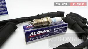 LS1 5.7L AC DELCO SPARK PLUG SET+IGNITION LEADS VT VU VX VY VZ HOLDEN GM V8 GEN3