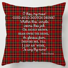 Scotch bevande brucia notte POESIA preventivo WHISKY Tartan Scozzese Cuscino / Pillow