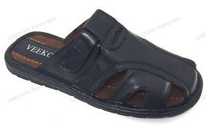 Brand New VEEKO Mens Slides Sandals Closed Toe Hook and Loop Fisherman Slipper