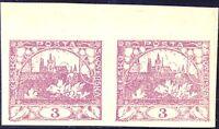 TSCHECHOSLOWAKEI 1918 Hradschin 3 (H) purpurlila postfr. Paar ABARTEN
