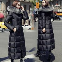 Womens Hooded Real Fur Collar Maxi Down Jacket Warm Slim Long Parka Coat Outwear