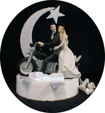 Moonlight Porcelain motorcycle Wedding Cake Topper Groom top Bike Harley Hog