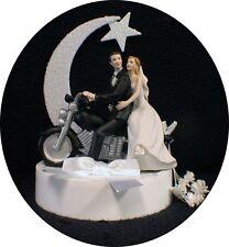 Moonlight Porcelain motorcycle Wedding Cake Topper Groom top Bike Harley Hog