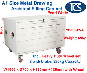 TCS WHITE A1 PLAN 5 DRAWER ARCHITECT CABINET w WHEELS for Paper Posters Art Maps