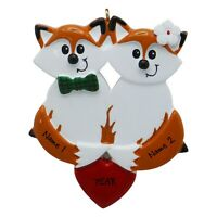 NAME PERSONALIZED Red Fox Family of 2 Christmas Ornament Tree 2019 Holiday Gift