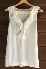Joie Kay Ruffle Blouse Top Career Sleeveless Tank Cream White 100% Silk Size M