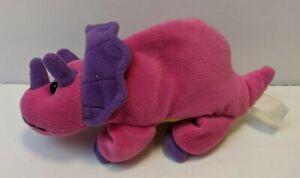 "Dinosaur Triceratops 8"" Beanie Plush Stuffed Animal Pink/Purple/Yellow"
