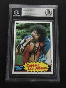 CAPTAIN LOU ALBANO 1985 TOPPS WWF SIGNED AUTOGRAPHED CARD BECKETT BAS AUTHENTIC