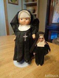 "2 Vintage Nun Dolls~Composition/Hard Plastic~Composition One Needs TLC~5""&8""~"