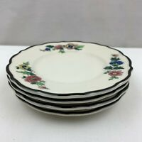Syracuse China Restaurant Ware Black Trim Florals Bread & Butter Plates Set of 4
