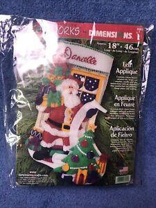 "Dimensions Christmas Stocking Felt Works Applique Kit18""L Santa 2011 #8095"