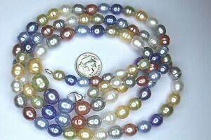 """HONORA 925 CLASP, 7-9MM MULTI PASTEL COLOR PEARL NECKLACES 36"""" 78 GRAMS"""