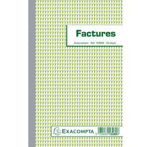 "[Ref:13280E] EXACOMPTA Manifold ""Factures"" 210 x 135 mm 50 Feuillets Dupli"