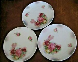 """3 German Plates 7 1/2"""" Hand Painted With Roses & Green Mark Germany ##"""
