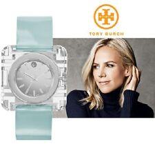 Tory Burch Women's Izzie Silver Crystal Blue Patent Leather Swiss Watch TRB3004