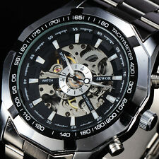 Luxury Stainless Steel Skeleton Mechanical Watch Mens Sport Relogio Masculino X8