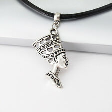 Vintage Silver Alloy Egypt Queen Egyptian Pendant Black Leather Tribal Necklace