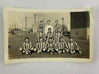 Men Soccer Team Striped Uniform Vintage B&W Photograph Snapshot 3.25 x 5.25