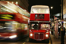 Large Framed Print - Big Red Bus on the Streets of London (Picture Poster Art)