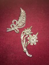 Vintage Marcasite Brooch of Ribboned Leaf Form and Twin Flower Head Brooch
